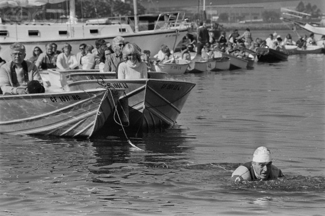Physical Trainer Jack LaLanne Swimming in Harbor
